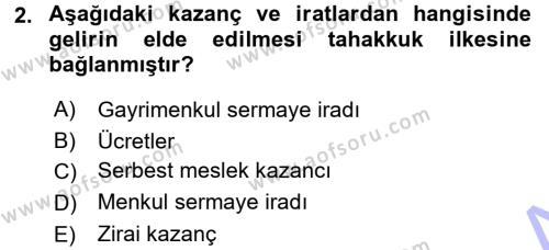 Bankacılık ve Sigortacılık Bölümü 3. Yarıyıl Türk Vergi Sistemi Dersi 2016 Yılı Güz Dönemi Dönem Sonu Sınavı 2. Soru