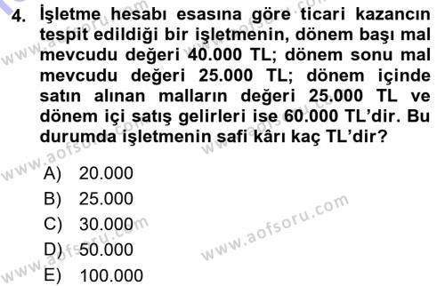 Bankacılık ve Sigortacılık Bölümü 3. Yarıyıl Türk Vergi Sistemi Dersi 2016 Yılı Güz Dönemi Dönem Sonu Sınavı 4. Soru