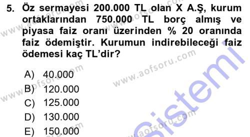 Yerel Yönetimler Bölümü 3. Yarıyıl Türk Vergi Sistemi Dersi 2016 Yılı Güz Dönemi Dönem Sonu Sınavı 5. Soru