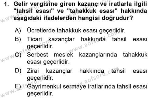 Türk Vergi Sistemi Dersi 2015 - 2016 Yılı Tek Ders Sınav Soruları 1. Soru