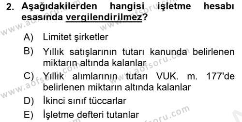 Türk Vergi Sistemi Dersi 2015 - 2016 Yılı Tek Ders Sınav Soruları 2. Soru