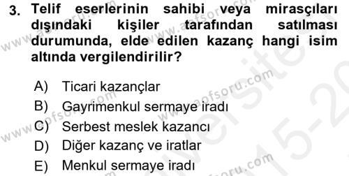 Türk Vergi Sistemi Dersi 2015 - 2016 Yılı Tek Ders Sınav Soruları 3. Soru