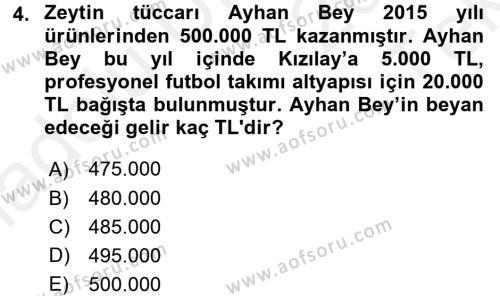 Türk Vergi Sistemi Dersi 2015 - 2016 Yılı Tek Ders Sınav Soruları 4. Soru
