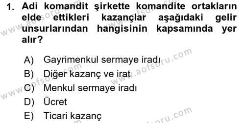 Türk Vergi Sistemi Dersi 2016 - 2017 Yılı (Vize) Ara Sınavı 1. Soru