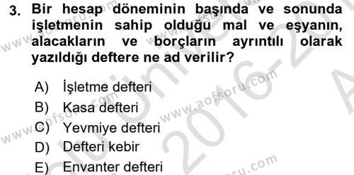 Türk Vergi Sistemi Dersi 2016 - 2017 Yılı (Vize) Ara Sınavı 3. Soru
