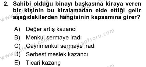 Türk Vergi Sistemi Dersi 2017 - 2018 Yılı 3 Ders Sınavı 2. Soru