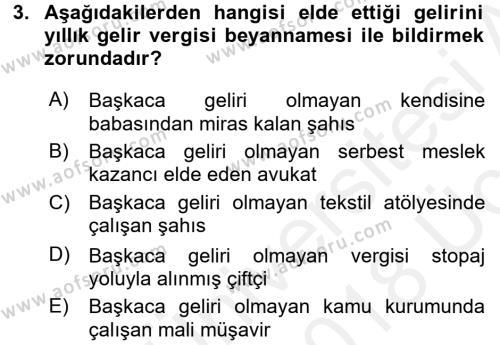 Türk Vergi Sistemi Dersi 2017 - 2018 Yılı 3 Ders Sınavı 3. Soru