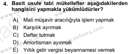 Türk Vergi Sistemi Dersi 2017 - 2018 Yılı 3 Ders Sınavı 4. Soru