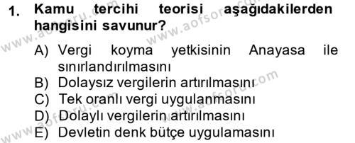 Maliye Bölümü 4. Yarıyıl Vergi Teorisi Dersi 2013 Yılı Bahar Dönemi Ara Sınavı 1. Soru
