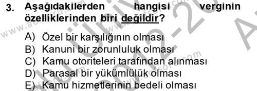 Maliye Bölümü 4. Yarıyıl Vergi Teorisi Dersi 2013 Yılı Bahar Dönemi Ara Sınavı 3. Soru