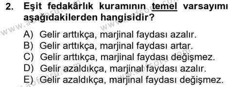Maliye Bölümü 4. Yarıyıl Vergi Teorisi Dersi 2013 Yılı Bahar Dönemi Dönem Sonu Sınavı 2. Soru