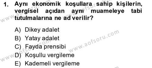 Vergi Teorisi Dersi 2013 - 2014 Yılı (Vize) Ara Sınav Soruları 1. Soru