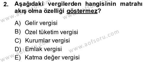Vergi Teorisi Dersi 2013 - 2014 Yılı (Final) Dönem Sonu Sınav Soruları 2. Soru
