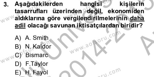 Vergi Teorisi Dersi 2014 - 2015 Yılı Ara Sınavı 3. Soru