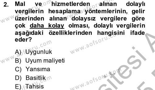 Vergi Teorisi Dersi 2014 - 2015 Yılı (Final) Dönem Sonu Sınav Soruları 2. Soru