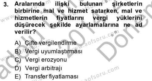 Maliye Bölümü 4. Yarıyıl Vergi Teorisi Dersi 2015 Yılı Bahar Dönemi Dönem Sonu Sınavı 3. Soru