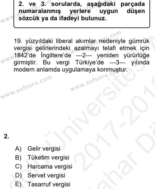 Vergi Teorisi Dersi 2017 - 2018 Yılı (Vize) Ara Sınav Soruları 2. Soru