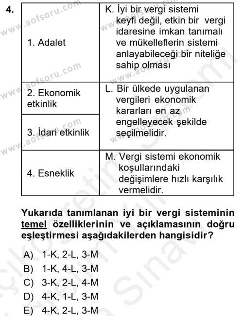 Vergi Teorisi Dersi 2017 - 2018 Yılı (Vize) Ara Sınav Soruları 4. Soru