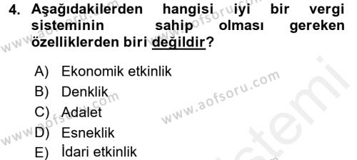 Vergi Teorisi Dersi 2018 - 2019 Yılı (Vize) Ara Sınav Soruları 4. Soru