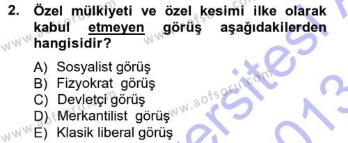 Kamu Maliyesi Dersi 2012 - 2013 Yılı Dönem Sonu Sınavı 2. Soru