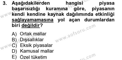 Kamu Maliyesi Dersi 2012 - 2013 Yılı Dönem Sonu Sınavı 3. Soru