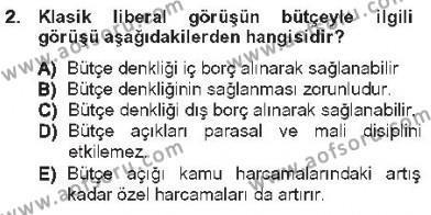 Yerel Yönetimler Bölümü 3. Yarıyıl Kamu Maliyesi Dersi 2013 Yılı Güz Dönemi Tek Ders Sınavı 2. Soru