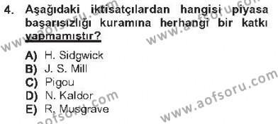 Kamu Maliyesi Dersi 2012 - 2013 Yılı Tek Ders Sınavı 4. Soru