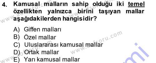 Kamu Maliyesi Dersi 2013 - 2014 Yılı Dönem Sonu Sınavı 4. Soru