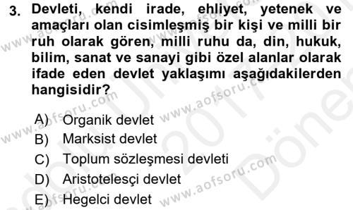 Kamu Maliyesi Dersi 2017 - 2018 Yılı (Final) Dönem Sonu Sınav Soruları 3. Soru