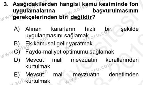 Kamu Maliyesi Dersi 2018 - 2019 Yılı (Final) Dönem Sonu Sınav Soruları 3. Soru