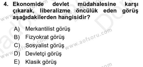 Kamu Maliyesi Dersi 2018 - 2019 Yılı (Final) Dönem Sonu Sınav Soruları 4. Soru