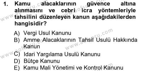 Maliye Bölümü 3. Yarıyıl Genel Vergi Hukuku Dersi 2013 Yılı Güz Dönemi Ara Sınavı 1. Soru