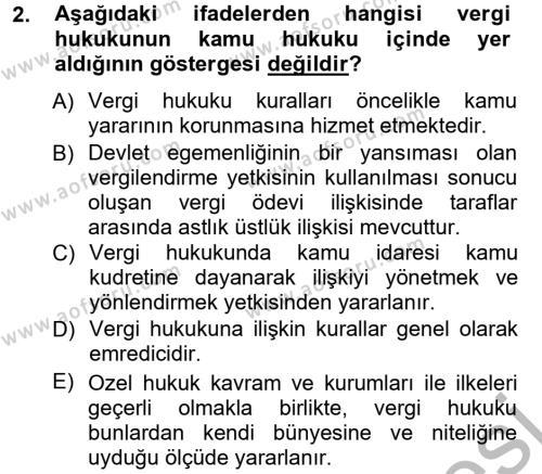 Maliye Bölümü 3. Yarıyıl Genel Vergi Hukuku Dersi 2013 Yılı Güz Dönemi Ara Sınavı 2. Soru