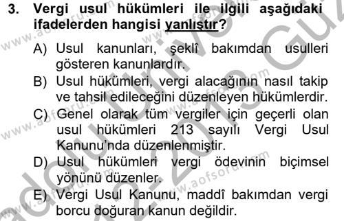 Genel Vergi Hukuku Dersi 2012 - 2013 Yılı Ara Sınavı 3. Soru