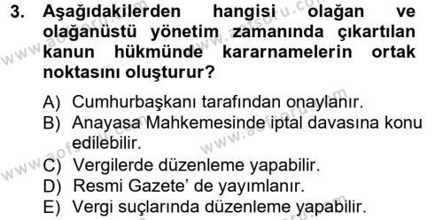 Genel Vergi Hukuku Dersi 2012 - 2013 Yılı (Final) Dönem Sonu Sınav Soruları 3. Soru