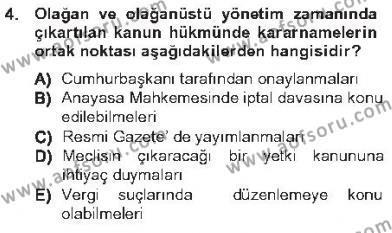 Genel Vergi Hukuku Dersi 2012 - 2013 Yılı Tek Ders Sınavı 4. Soru