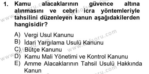 Maliye Bölümü 3. Yarıyıl Genel Vergi Hukuku Dersi 2014 Yılı Güz Dönemi Tek Ders Sınavı 1. Soru
