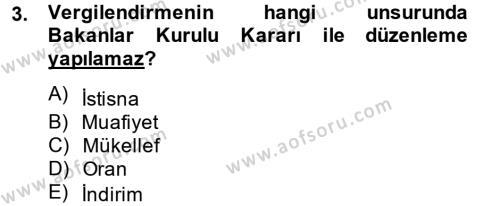 Maliye Bölümü 3. Yarıyıl Genel Vergi Hukuku Dersi 2014 Yılı Güz Dönemi Tek Ders Sınavı 3. Soru