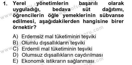Kamu Yönetimi Bölümü 6. Yarıyıl Mahalli İdareler Maliyesi Dersi 2013 Yılı Bahar Dönemi Ara Sınavı 1. Soru