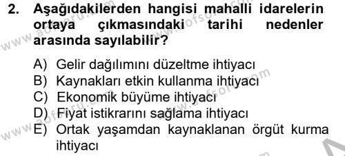 Kamu Yönetimi Bölümü 6. Yarıyıl Mahalli İdareler Maliyesi Dersi 2013 Yılı Bahar Dönemi Ara Sınavı 2. Soru