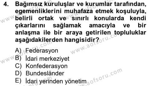 Mahalli İdareler Maliyesi Dersi 2012 - 2013 Yılı Ara Sınavı 4. Soru