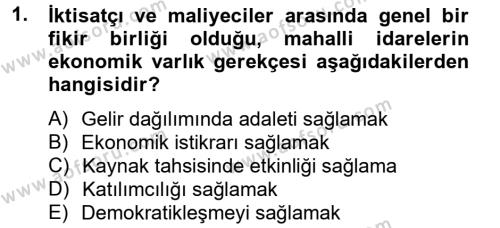 Maliye Bölümü 6. Yarıyıl Mahalli İdareler Maliyesi Dersi 2013 Yılı Bahar Dönemi Dönem Sonu Sınavı 1. Soru