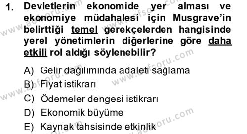Mahalli İdareler Maliyesi Dersi 2013 - 2014 Yılı Ara Sınavı 1. Soru