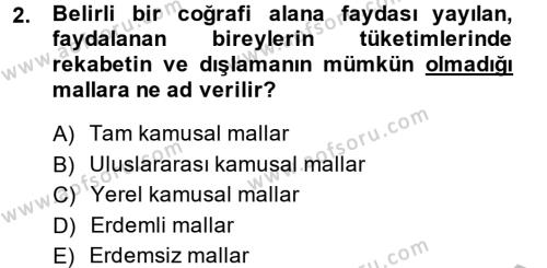 Maliye Bölümü 6. Yarıyıl Mahalli İdareler Maliyesi Dersi 2014 Yılı Bahar Dönemi Ara Sınavı 2. Soru