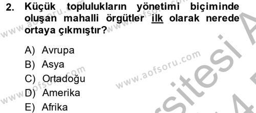 Maliye Bölümü 6. Yarıyıl Mahalli İdareler Maliyesi Dersi 2014 Yılı Bahar Dönemi Dönem Sonu Sınavı 2. Soru