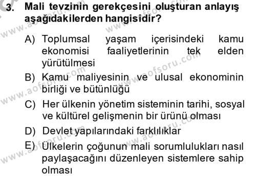 Mahalli İdareler Maliyesi Dersi 2013 - 2014 Yılı Dönem Sonu Sınavı 3. Soru