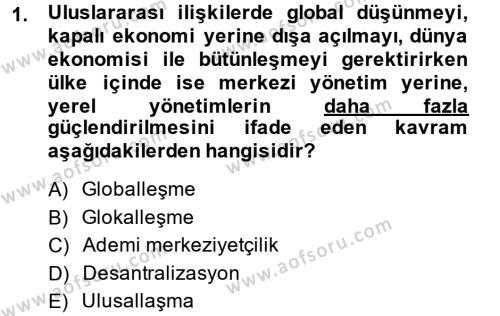 Kamu Yönetimi Bölümü 6. Yarıyıl Mahalli İdareler Maliyesi Dersi 2015 Yılı Bahar Dönemi Ara Sınavı 1. Soru