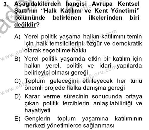 Maliye Bölümü 6. Yarıyıl Mahalli İdareler Maliyesi Dersi 2015 Yılı Bahar Dönemi Ara Sınavı 3. Soru
