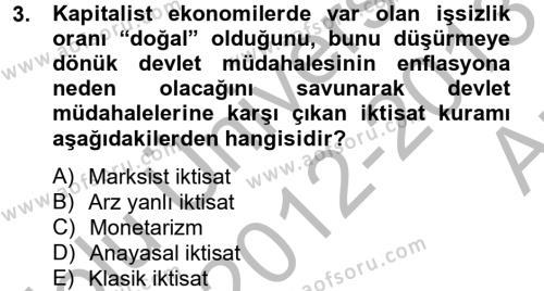 Uluslararası Kamu Maliyesi Dersi 2012 - 2013 Yılı Ara Sınavı 3. Soru