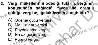 Mahalli İdareler Maliyesi Dersi 2012 - 2013 Yılı Dönem Sonu Sınavı 3. Soru